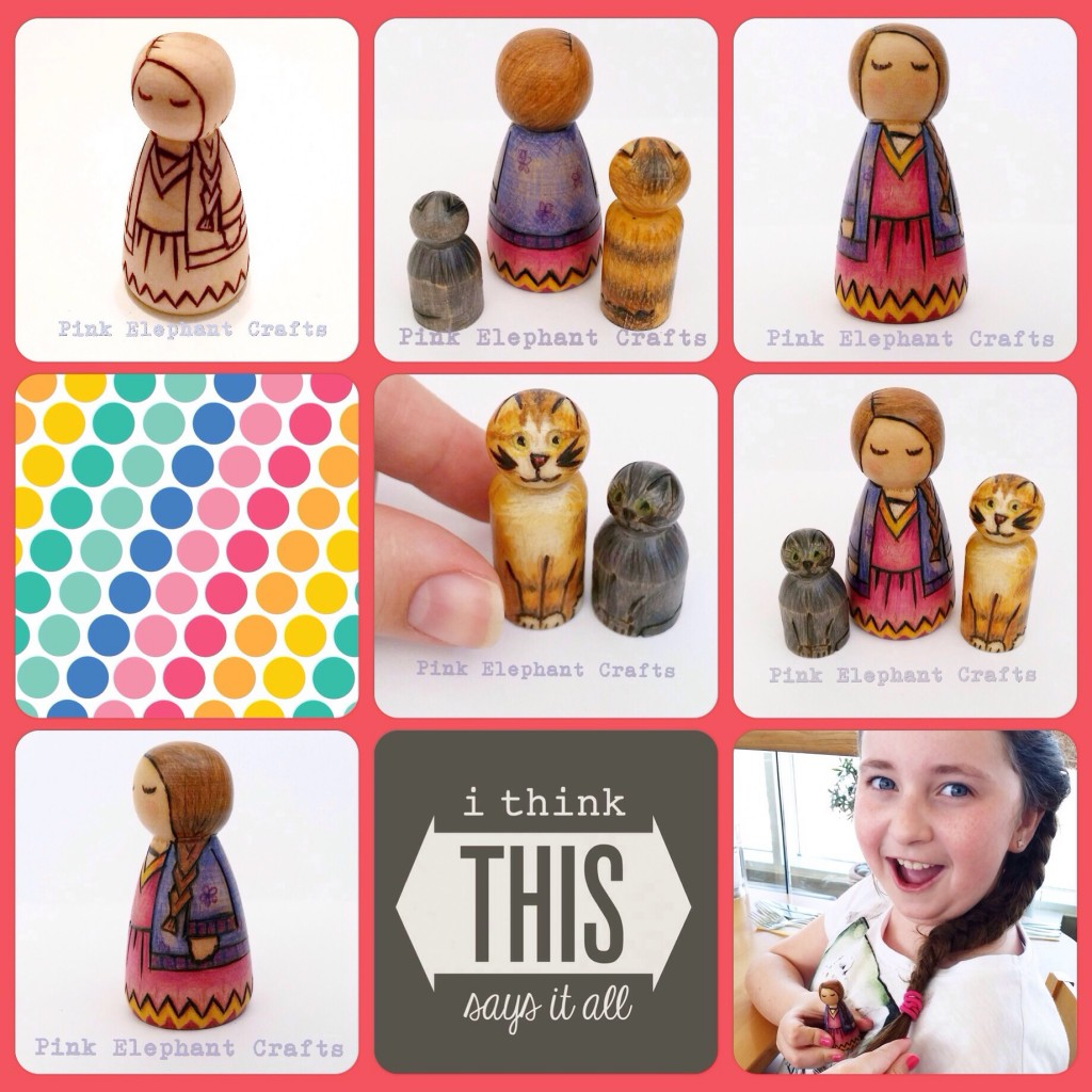 Child and Cat peg dolls