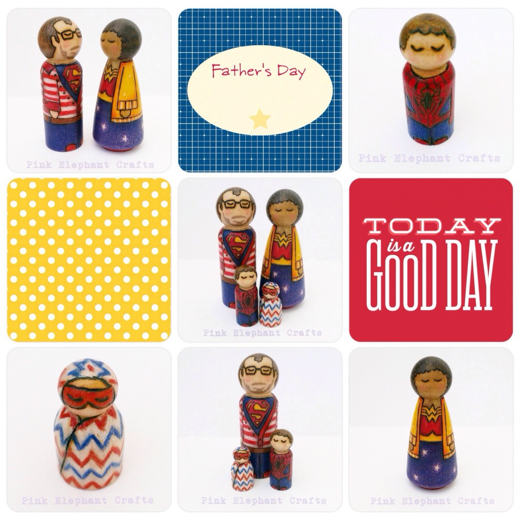 Super hero personalised peg doll family