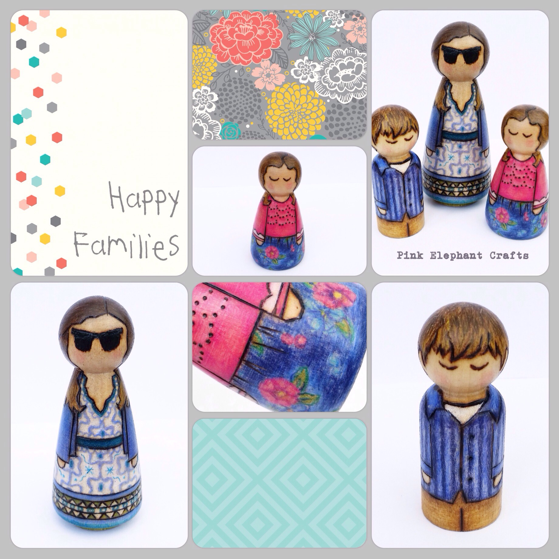 Family custom peg dolls birthday gift