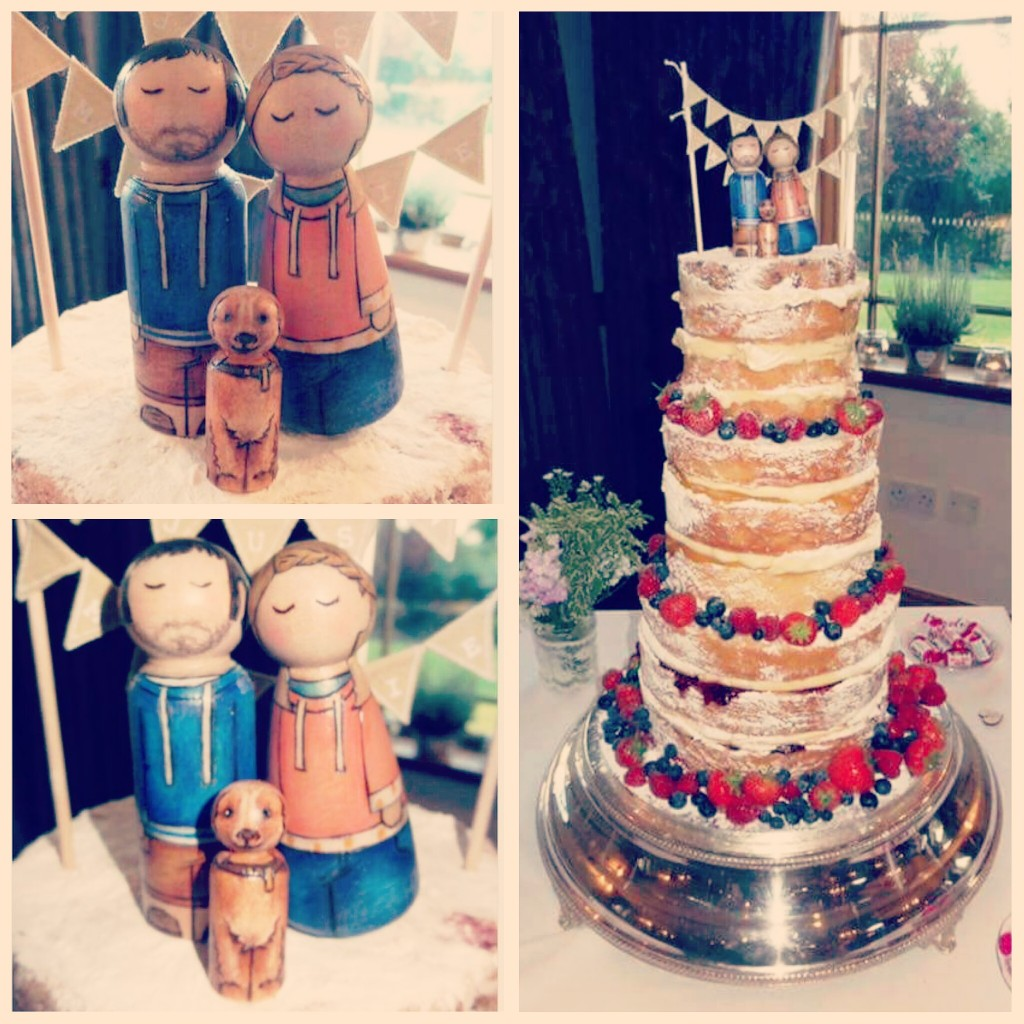 Peg doll wedding cake topper couple bride and groom