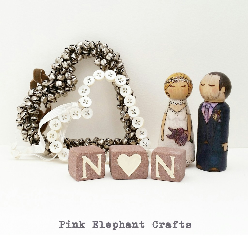 Bride and Groom peg doll wedding cake topper