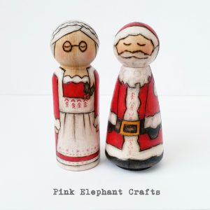 Christmas Peg dolls Santa and Mrs Claus