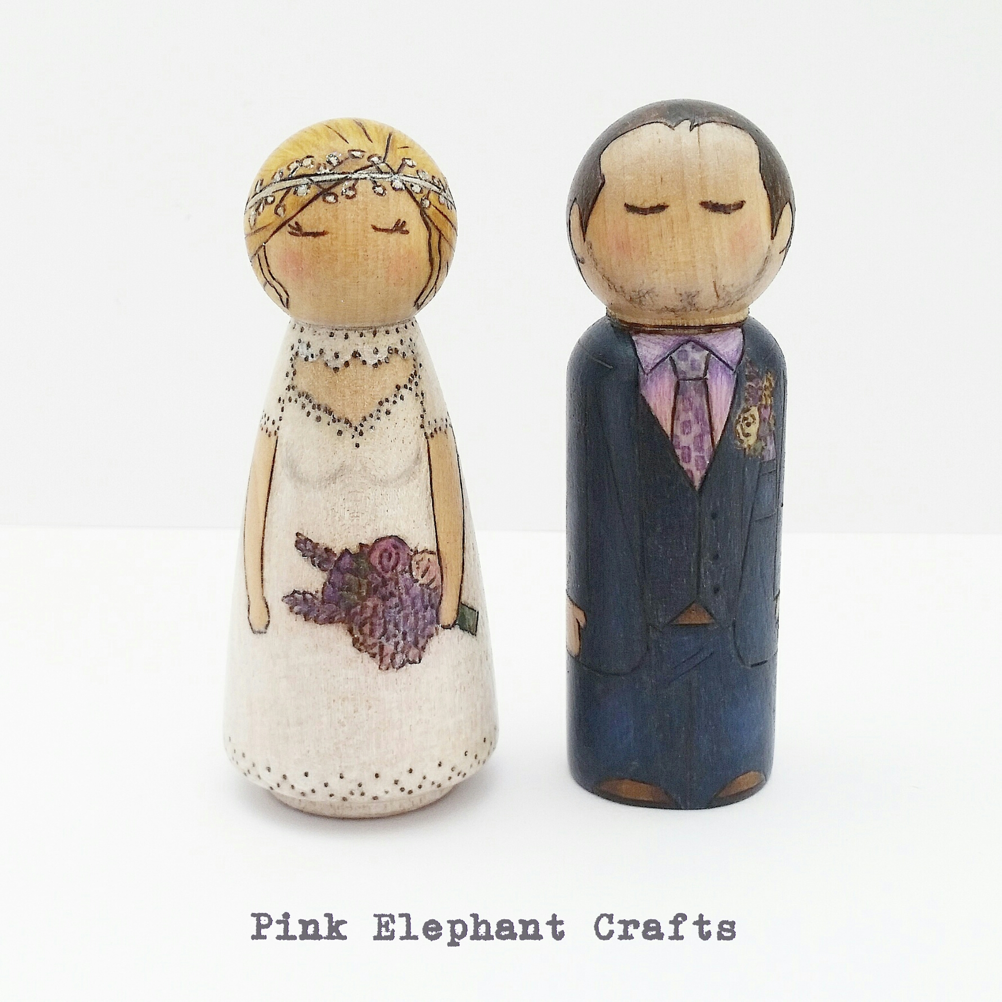 Personalised Peg Doll Wedding Cake Topper