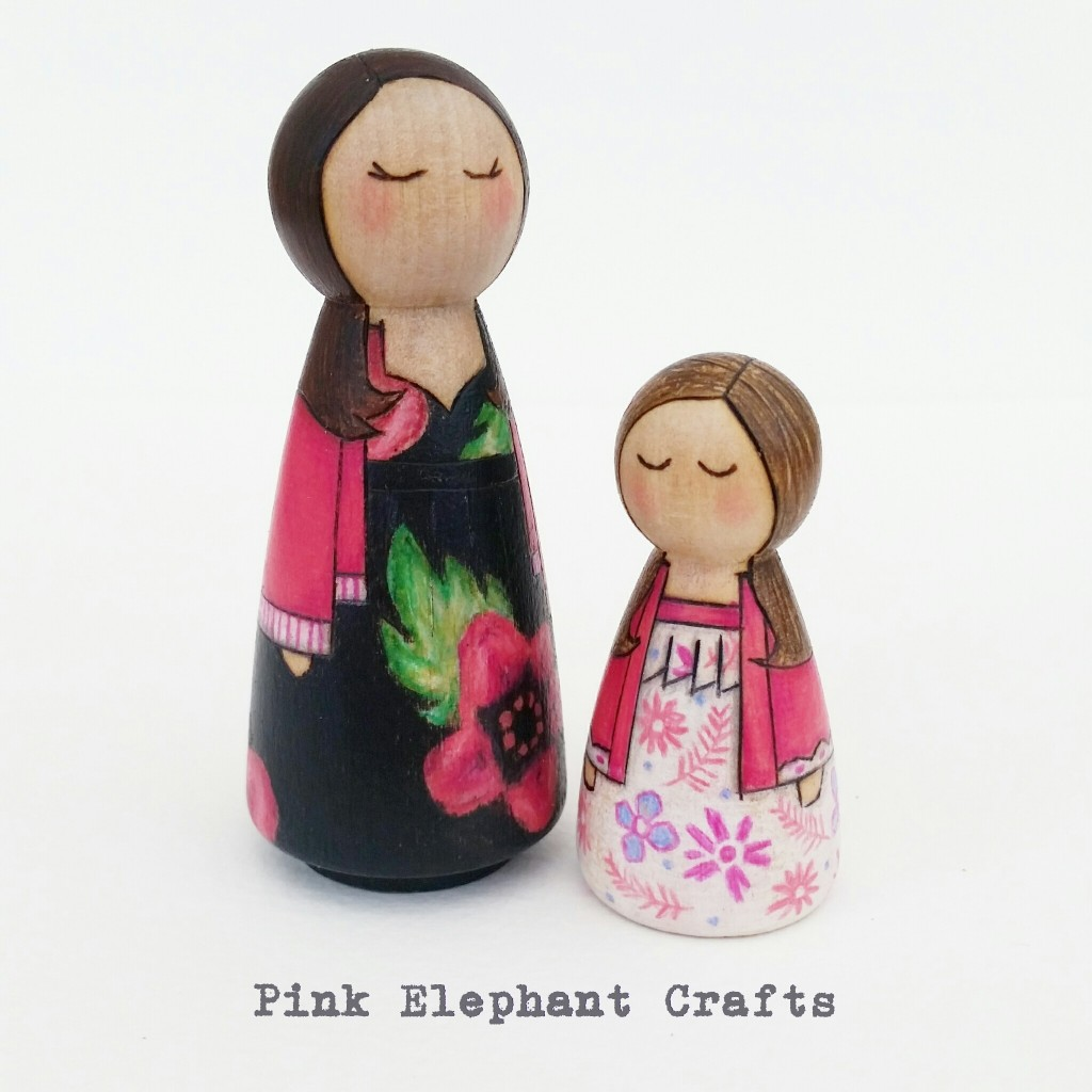 peg doll mother and daughter set