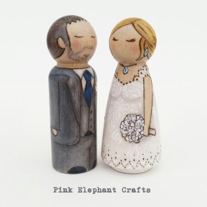 Bride and Groom peg doll cake topper