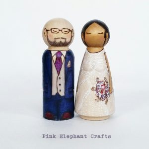 wedding cake toppers peg dolls