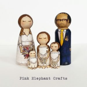 wedding cake topper peg doll family