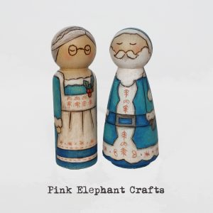 christmas santa peg dolls couple