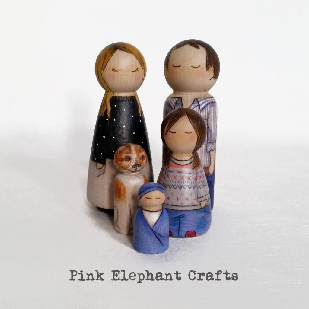 personalised peg doll family with dog