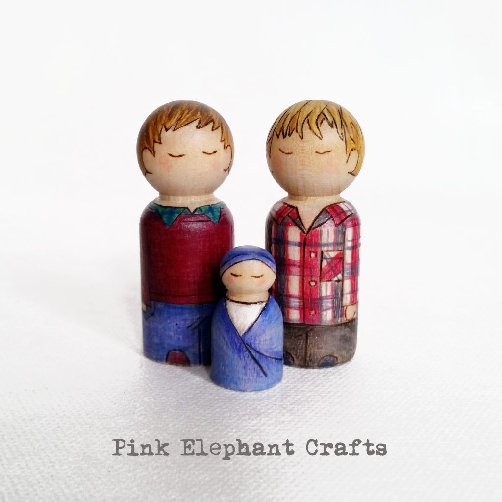 custom peg dolls, brother peg dolls