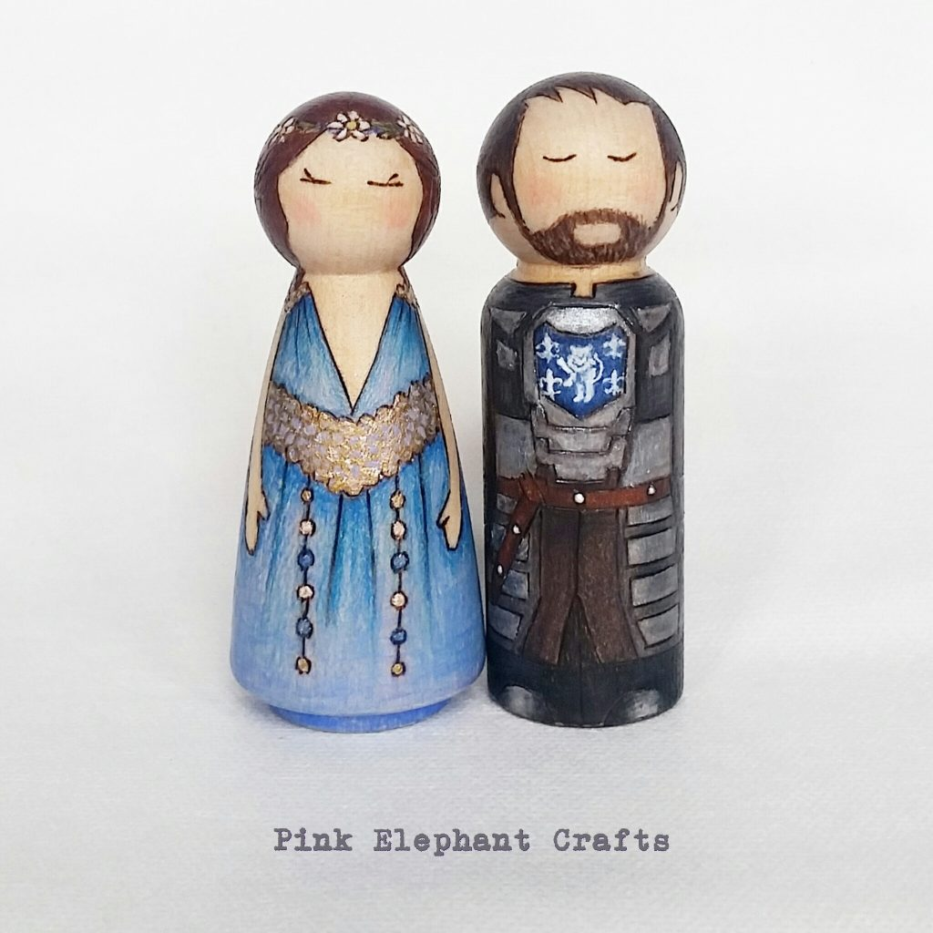 game of thrones wedding cake toppers, custom peg dolls, cake topper
