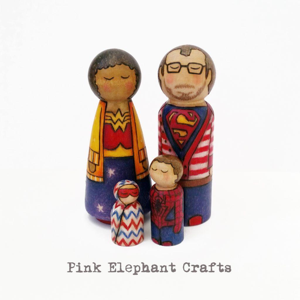 Superhero couple peg doll family