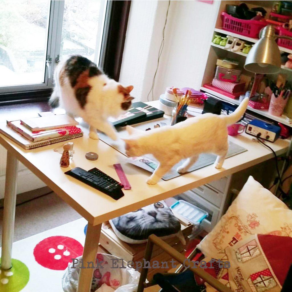 cute cats on peg doll artists desk
