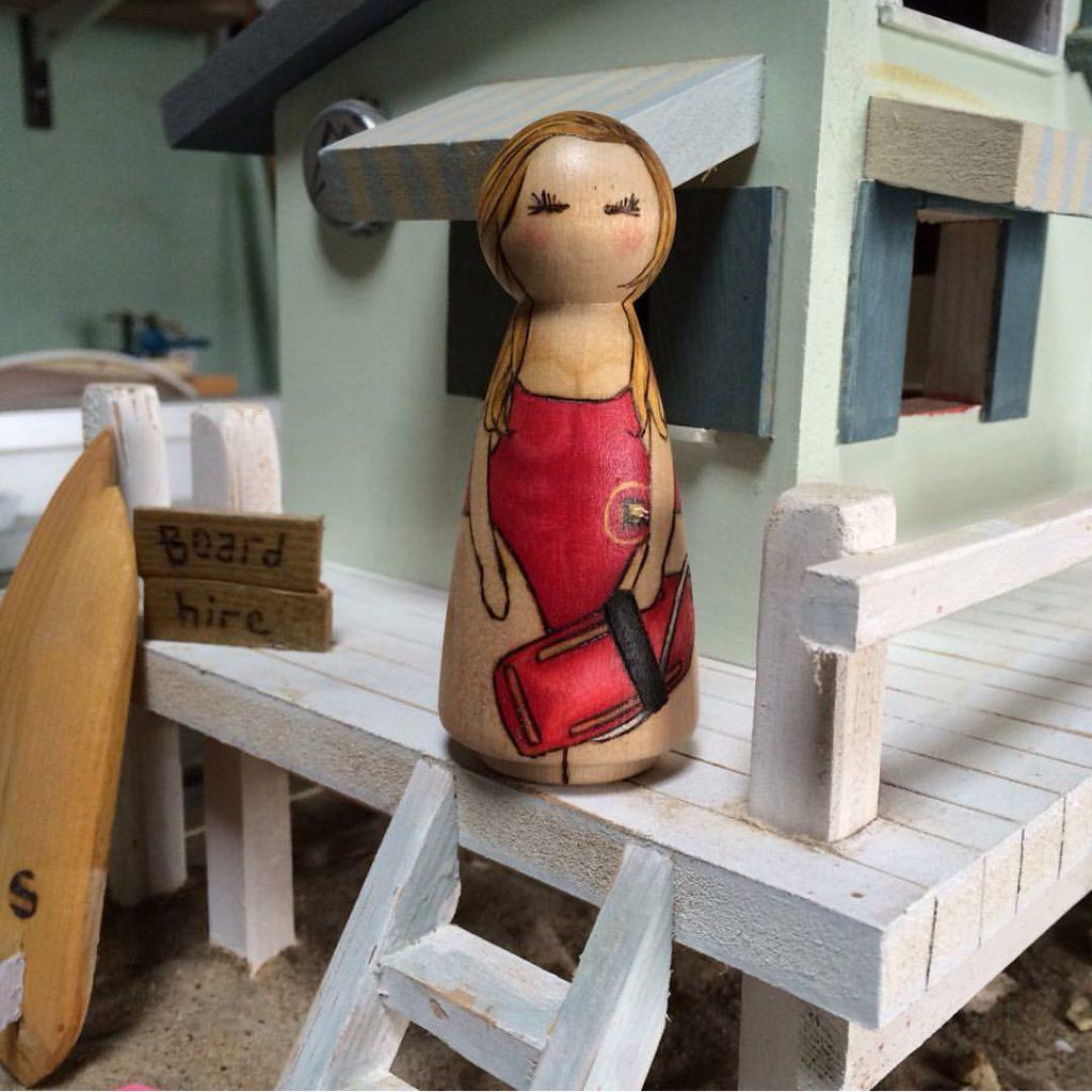 lifeguard in beach hut peg doll, Baywatch 2017