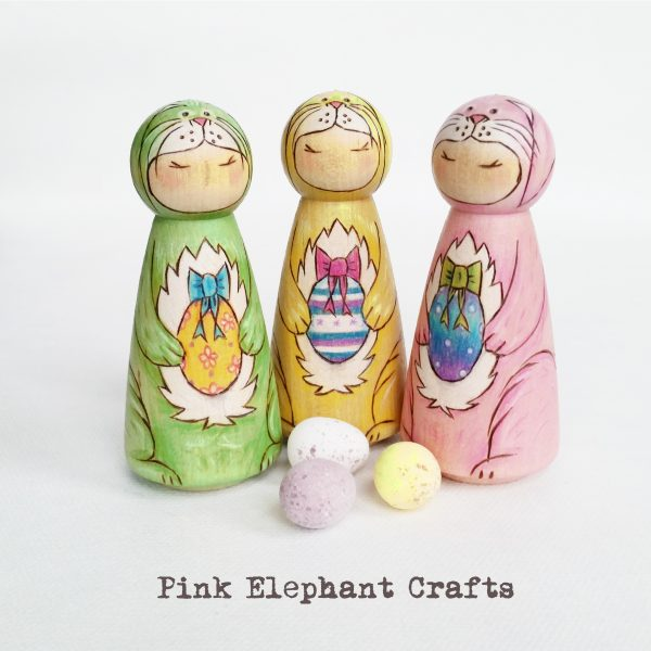 Easter Bunny peg dolls, easter gifts, easter decor, spring decorations
