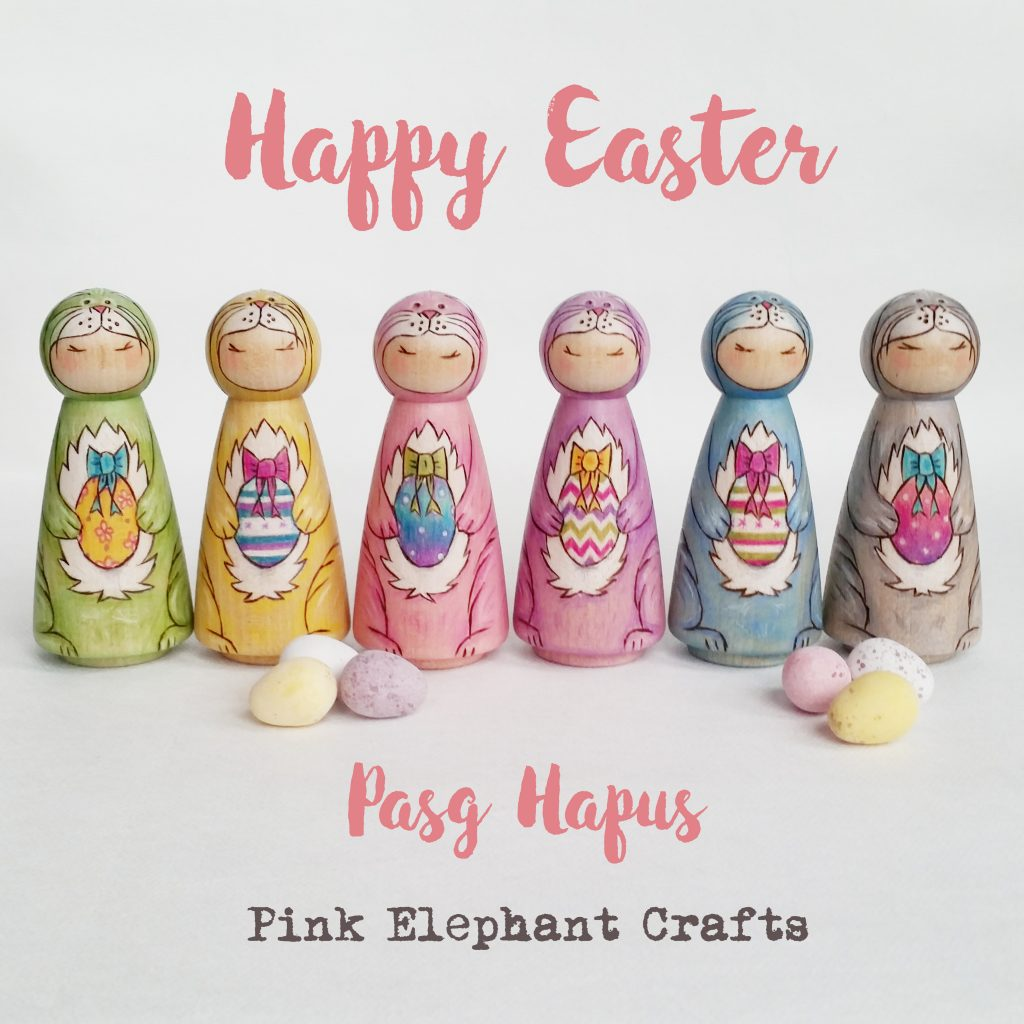 Easter Bunny peg dolls, non-chocolate Easter gifts