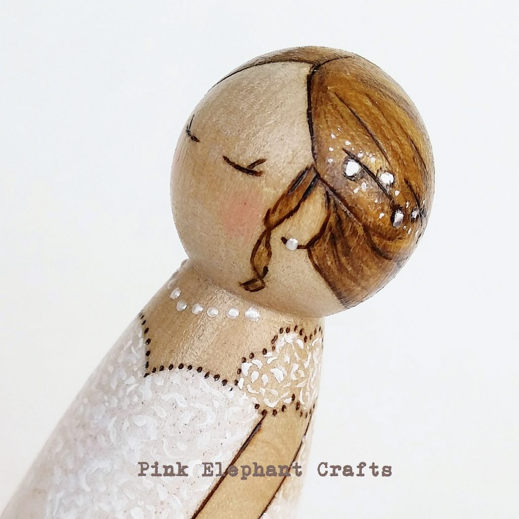 bride peg doll wedding cake topper
