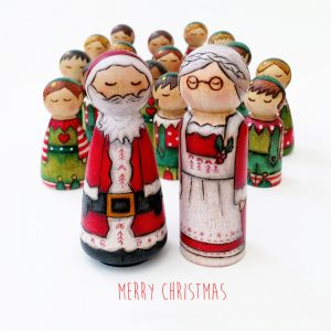 santa and the elves, Christmas family card, christmas card, christmas group, father christmas and elves