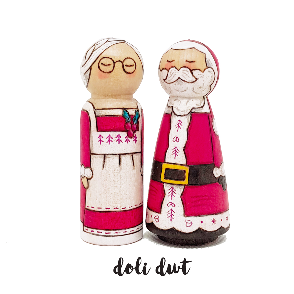 santa claus, hand made father christmas, christmas peg doll