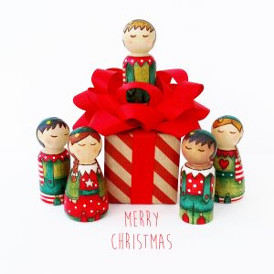 Christmas cards, peg doll cards, christmas cards with elves, merry christmas cards