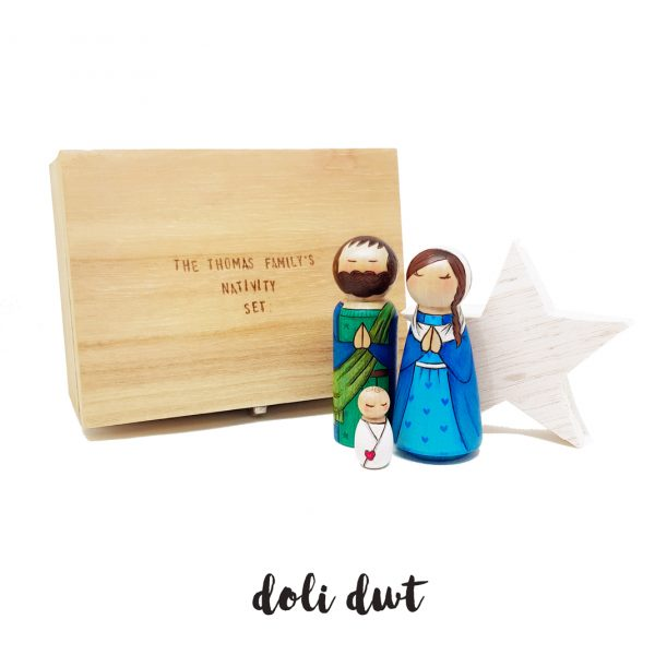 nativity set storage chest, personalised gift, Christmas decorations, anrhegion cymraeg,Nativity Peg Dolls, nativity, nativity set, peg dolls, peg doll nativity set,