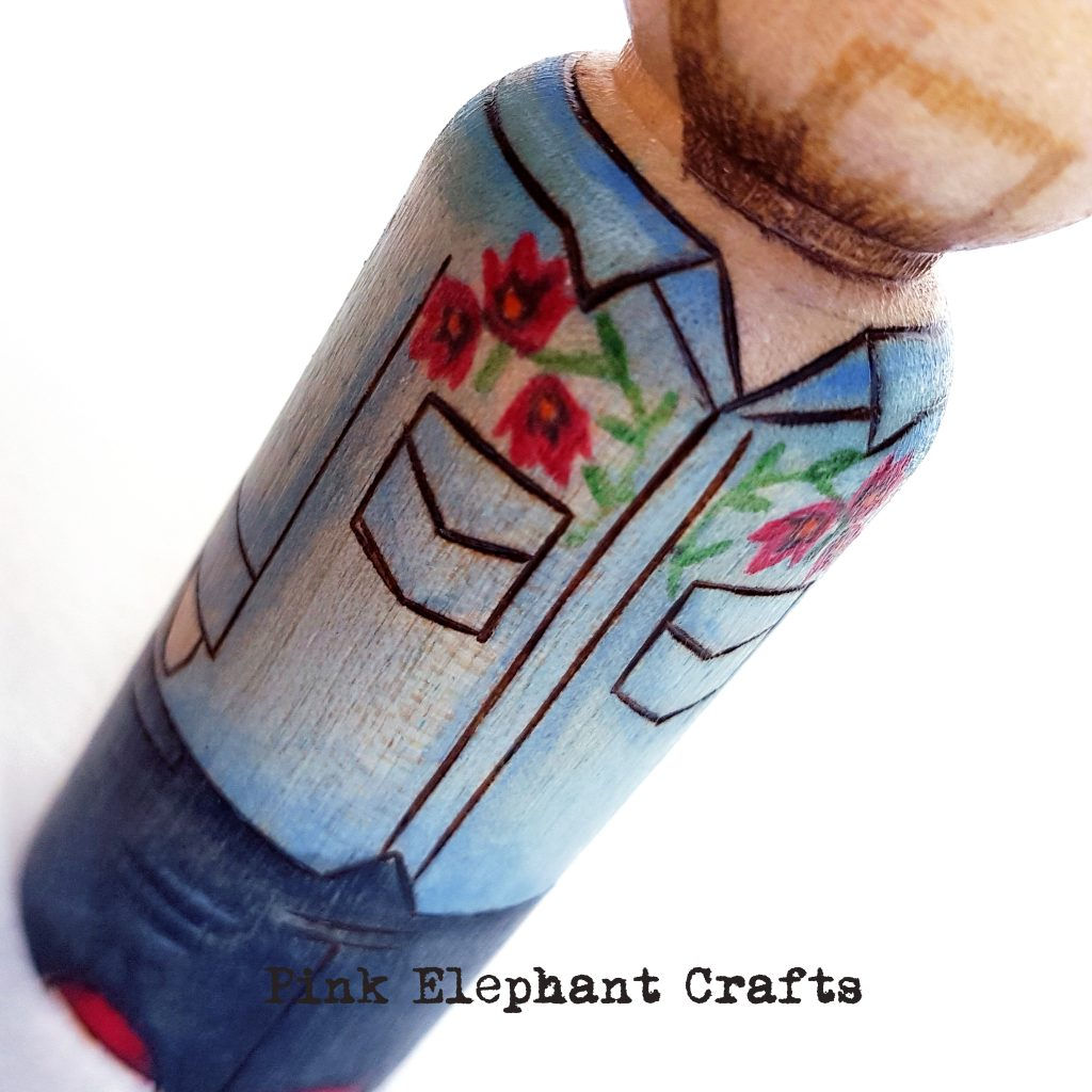 peg dolls, personalised peg dolls, swansea city fc, football fan, denim shirt