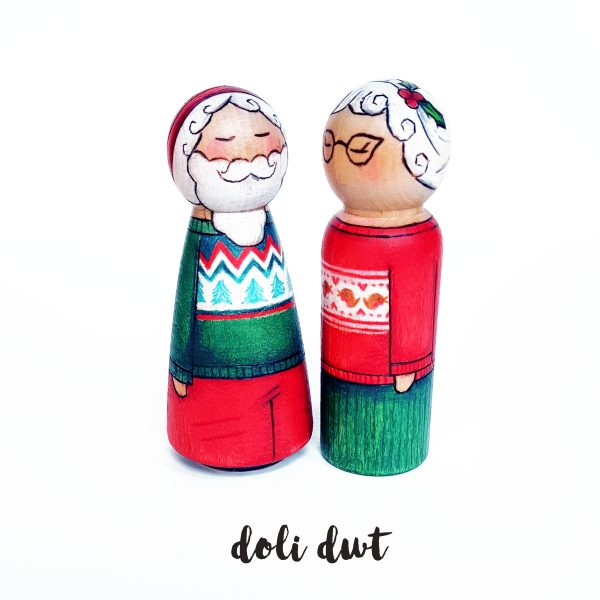 Christmas Jumper Santa, CHristmas jumper, peg dolls, santa peg doll