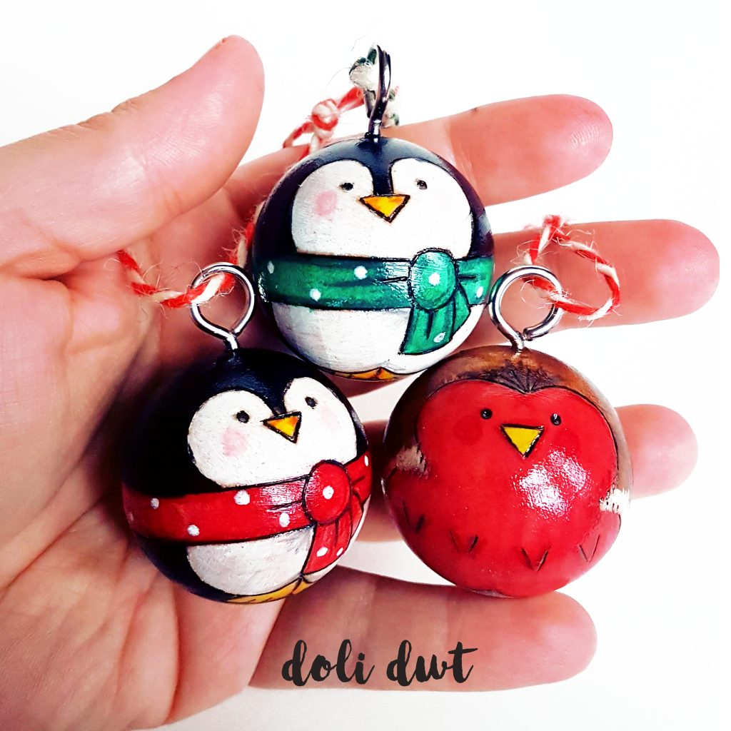 penguin, penguin decoration, penguin bauble, handmade bauble, christmas decoration, robins, robin bauble, christmas robin, peg doll