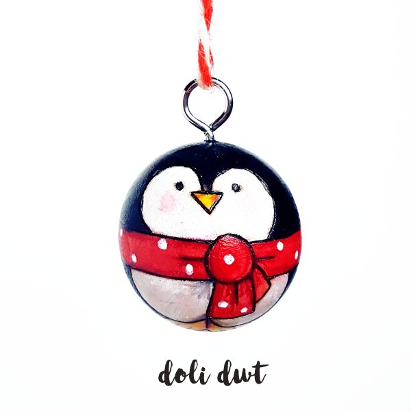 penguin, penguin decoration, penguin bauble, handmade bauble, christmas decoration