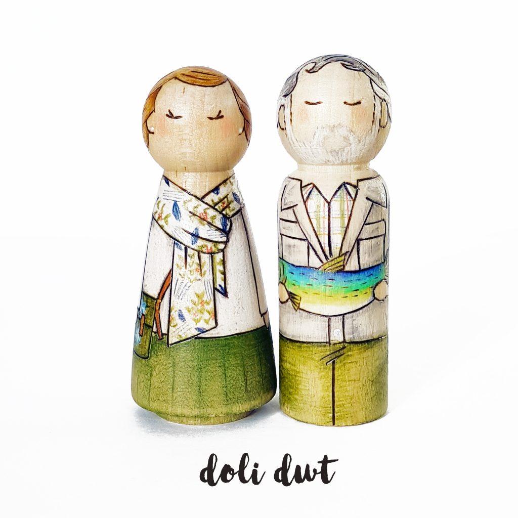 peg doll, peg dolls, personalised peg dolls, peg doll family, personalised gifts, fishing gift