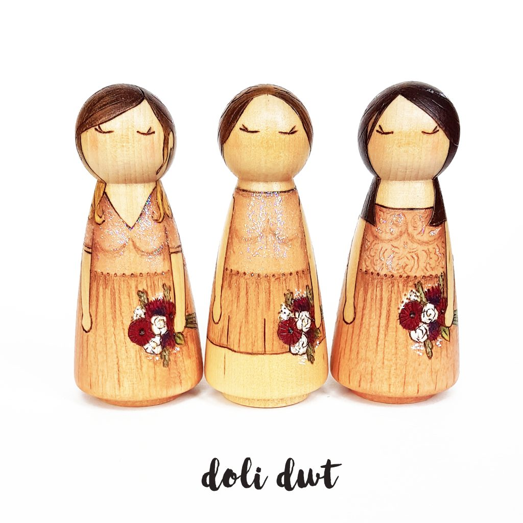personalised bridesmaid gift, bridesmaid gift, bridesmaid peg doll, bridesmaid, wedding gift, peg doll, doli dwt
