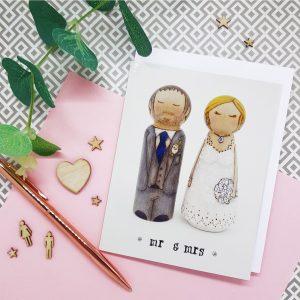 wedding card, bride and groom card, peg doll greeting card