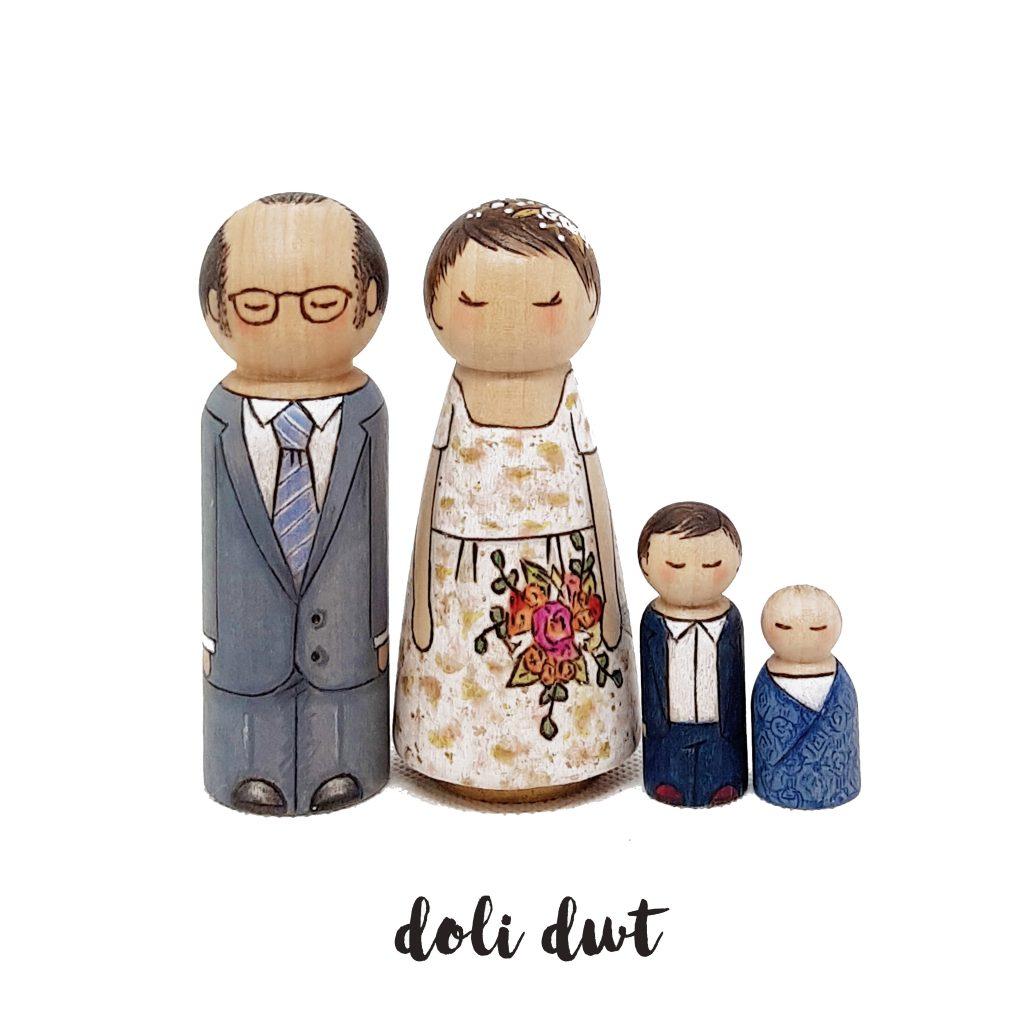 wedding cake peg dolls