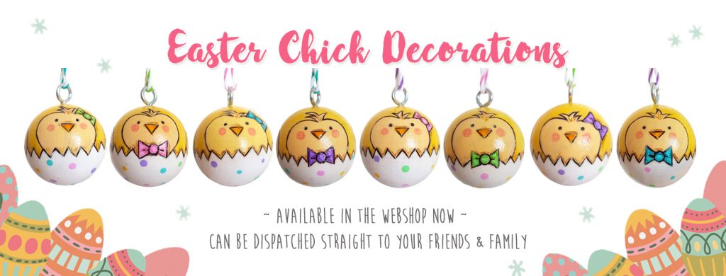 Unique and alternative Easter gifts, easter decorations, handmade wooden easter baubles,
