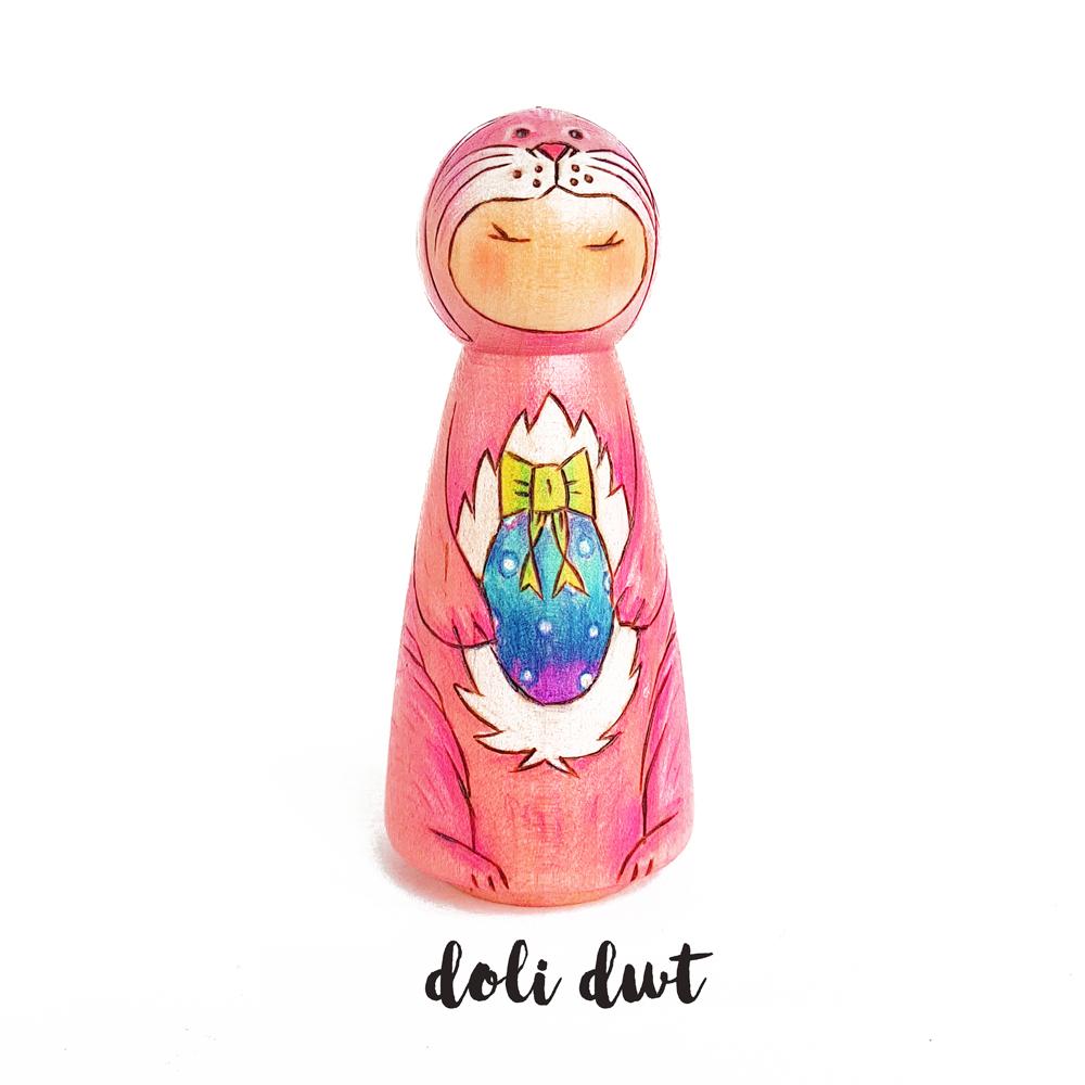Easter bunnt peg doll, easter gift, easter decorations, spring decor,