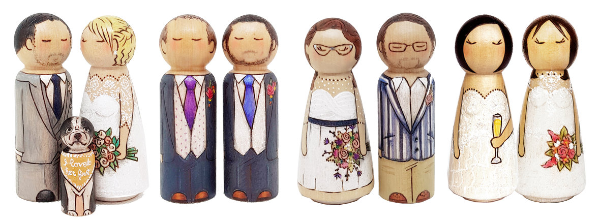 wedding cake topper, wedding cake, personalised wedding cake topper, bride and groom peg dolls, personalised peg doll