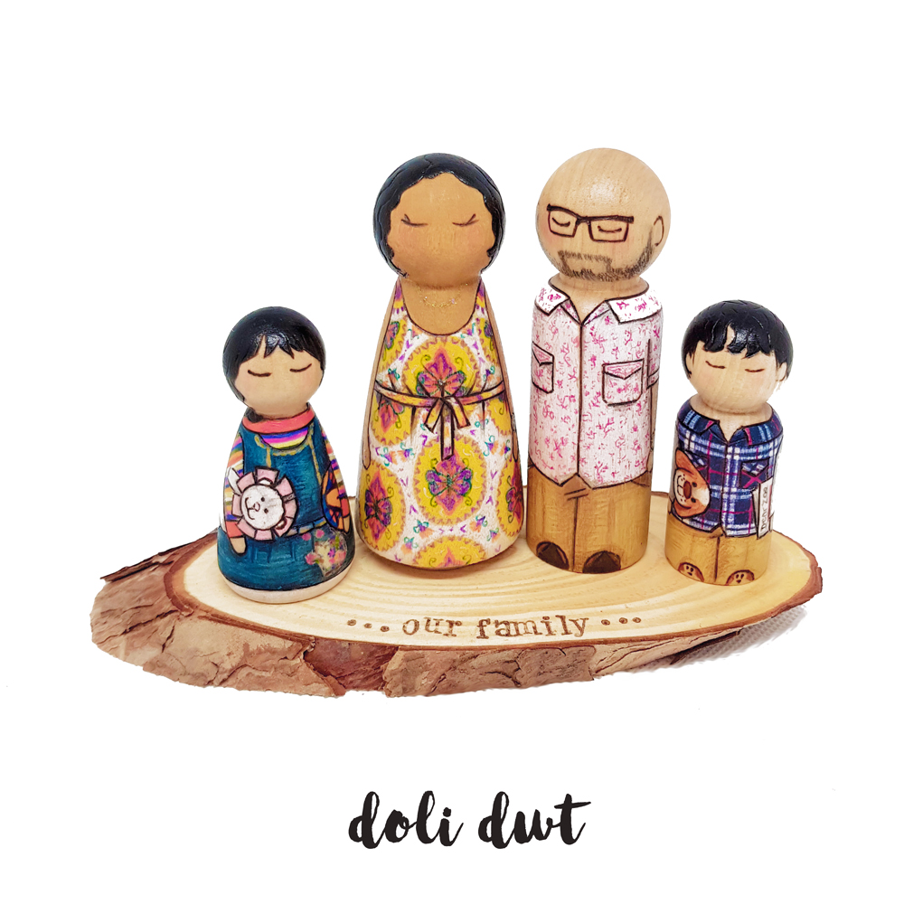painted peg dolls, family portrait, wooden peg dolls, personalised peg dolls, wedding cake topper, wooden cake topper