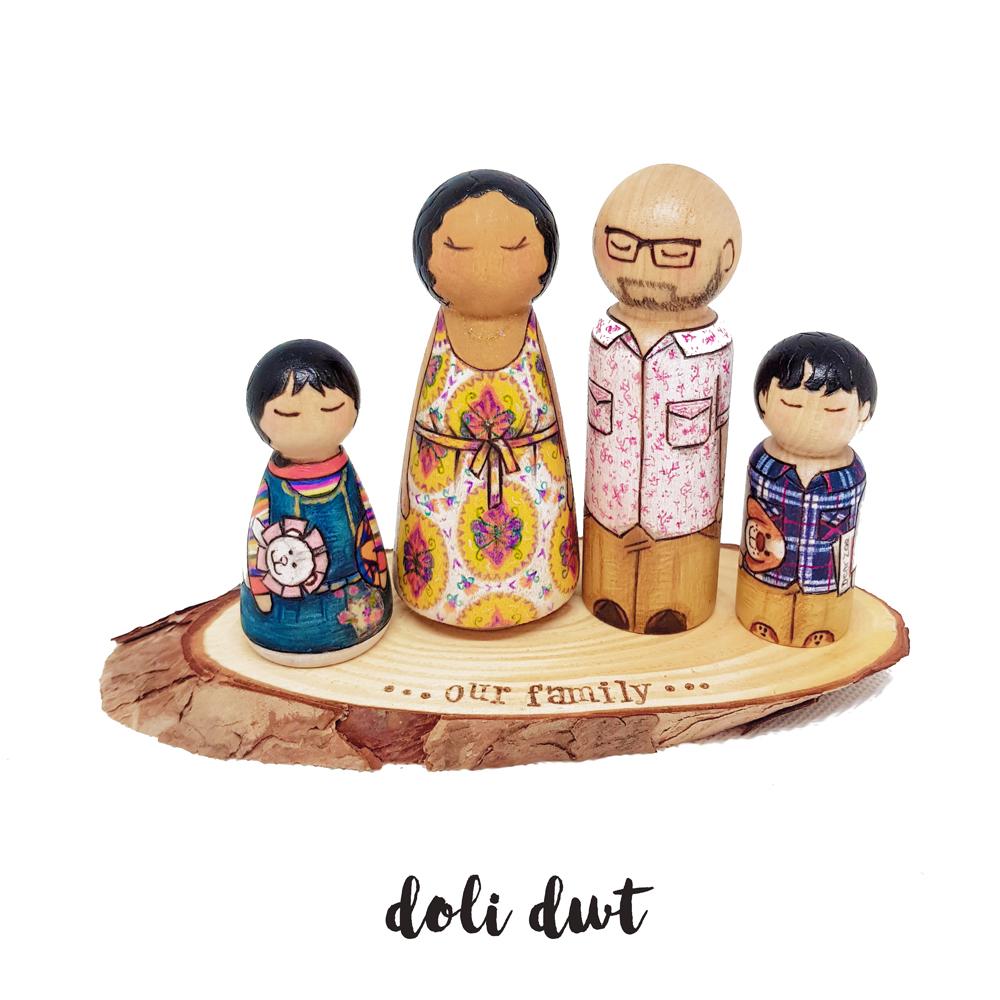 painted peg dolls, family portrait, wooden peg dolls, personalised peg dolls, wedding cake topper, wooden cake topper