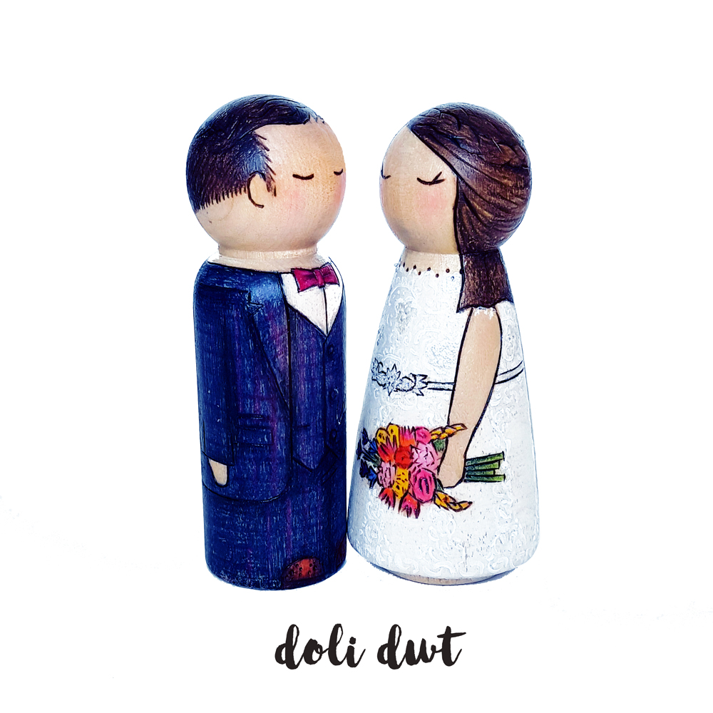 wedding cake toppers, wedding cake ideas, personalised cake topper, bride and groom cake topper, peg doll cake topper, unique wedding ideas, boho wedding ideas, vintage wedding ideas