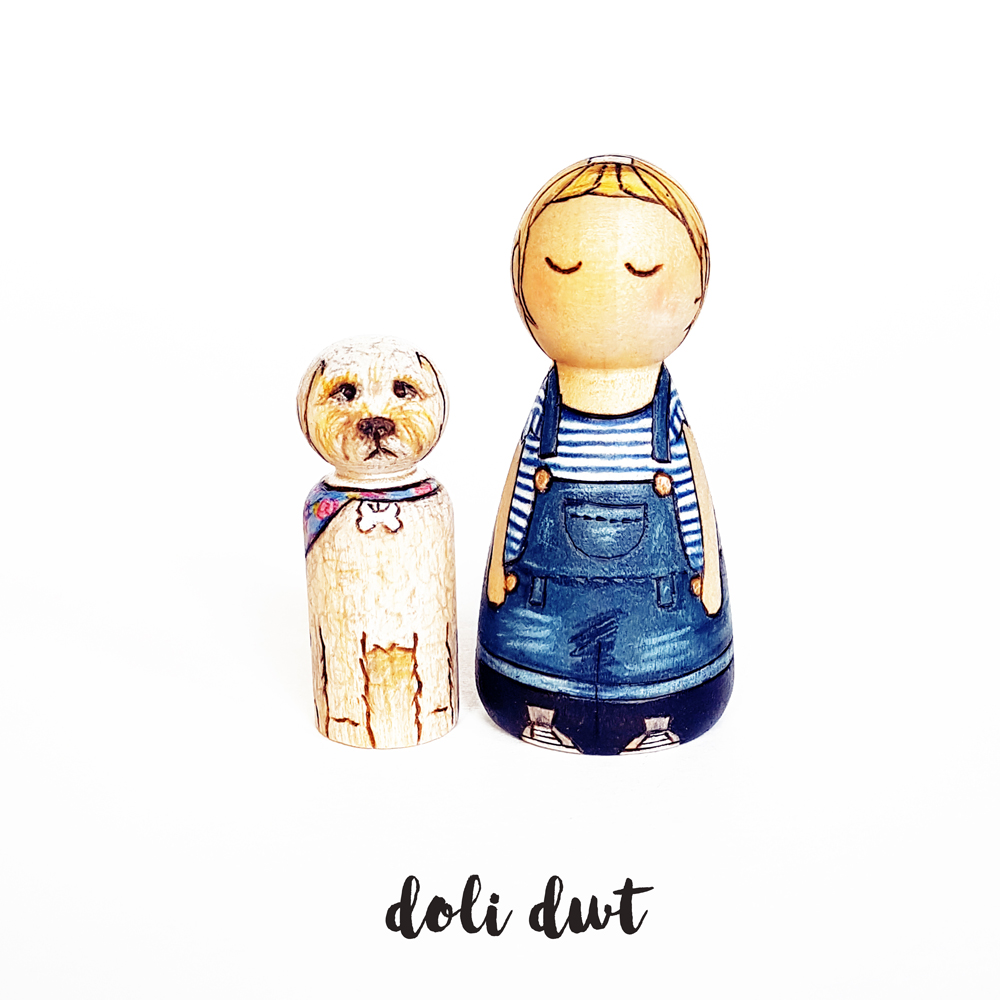 girl and her dog, bond between children and pets, peg doll gift,