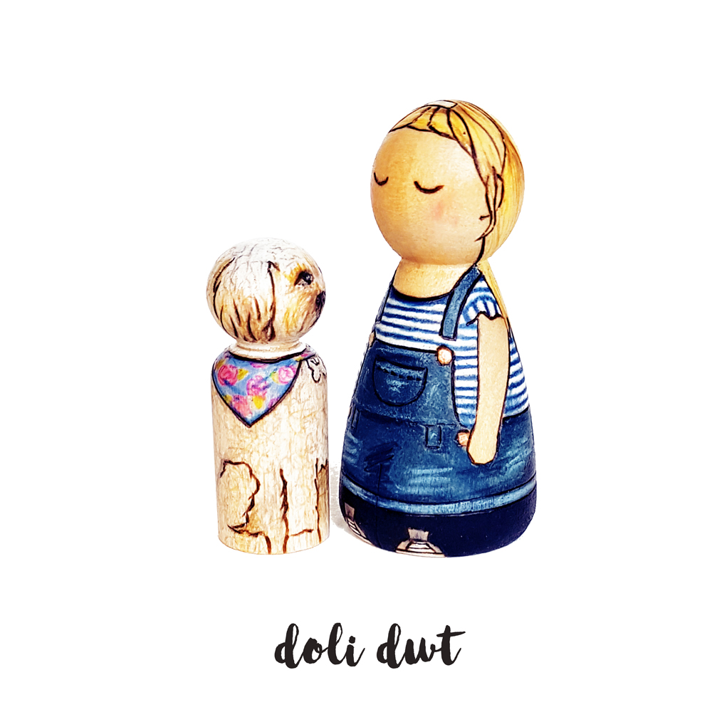 girl and her dog, bond between children and pets, peg doll, gifts for animal lovers