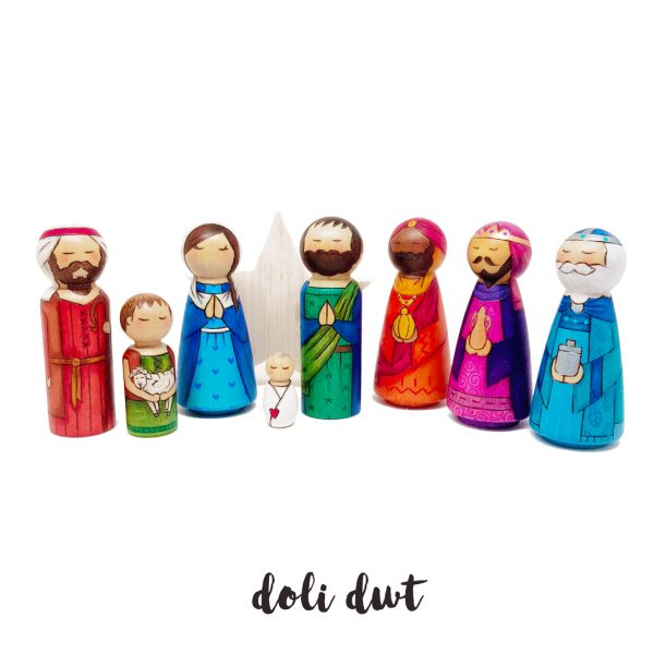 Nativity Peg Dolls, Welsh Christmas gifts