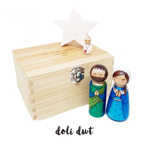 nativity set storage chest, personalised gift, personalised wooden box, nativity peg dolls,
