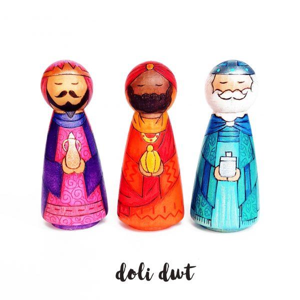 three kings, wise men, nativity, nativity peg dolls, peg dolls, doli dwt