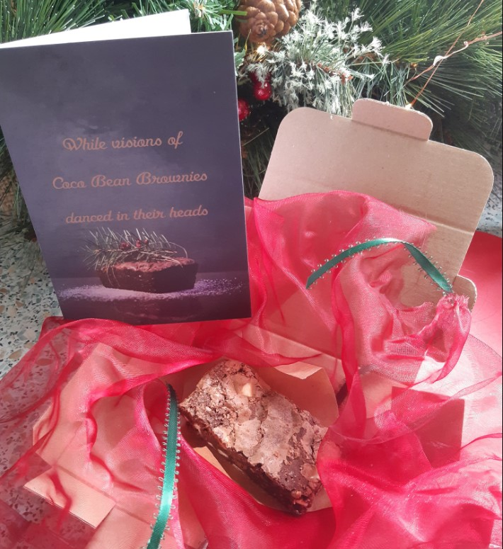 christmas brownie, brownie recipe, distanced gifting, stocking filler ideas,